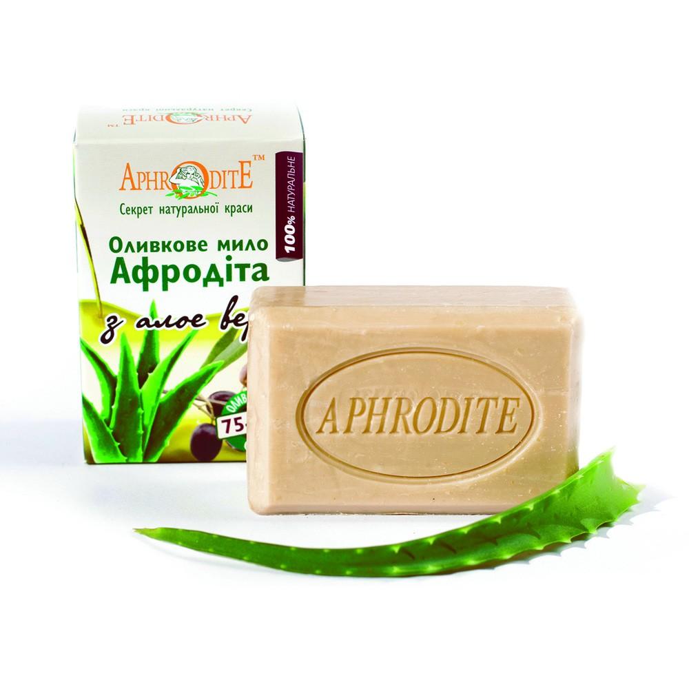Оливкове мило з алое вера AphrOditE®, натуральне, 125 гр - Фото№ 1