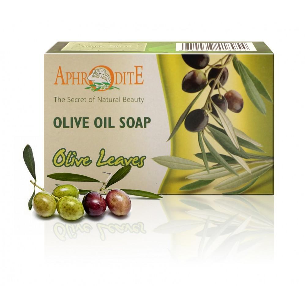 Натуральное оливковое мыло Афродита с оливковыми листьями