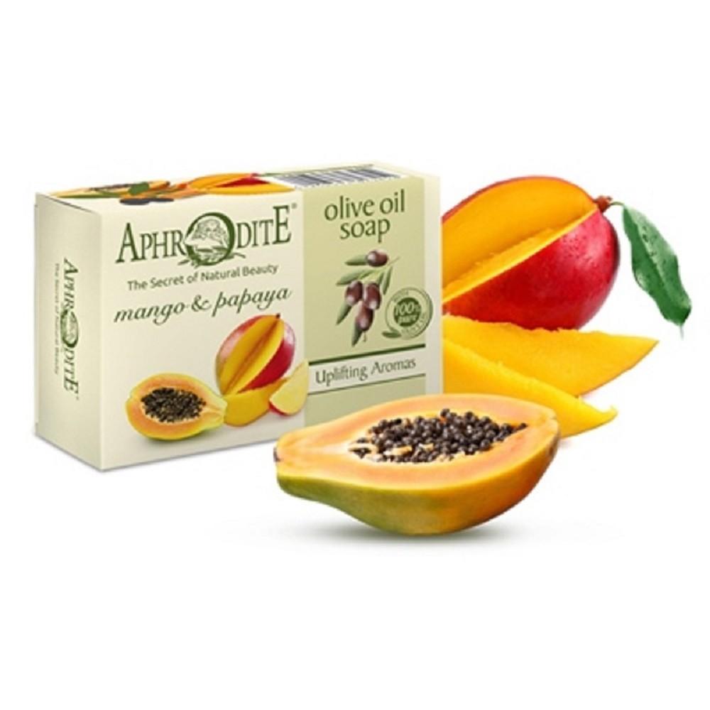 Оливковое мыло с манго и папайей Aphrodite®, натуральное, 100 г - Фото№ 1