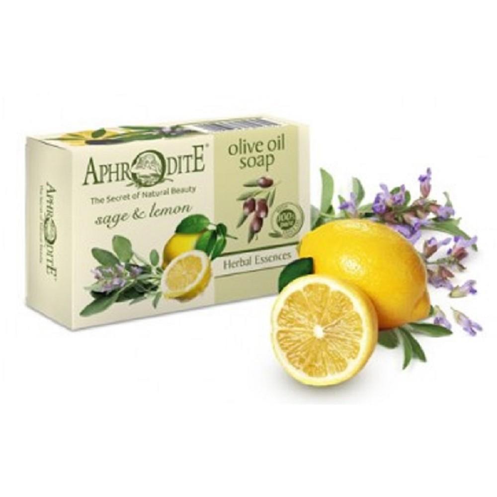 Оливковое мыло с маслом лимона и шалфея AphrOditE®, натуральное, 100 г - Фото№ 1