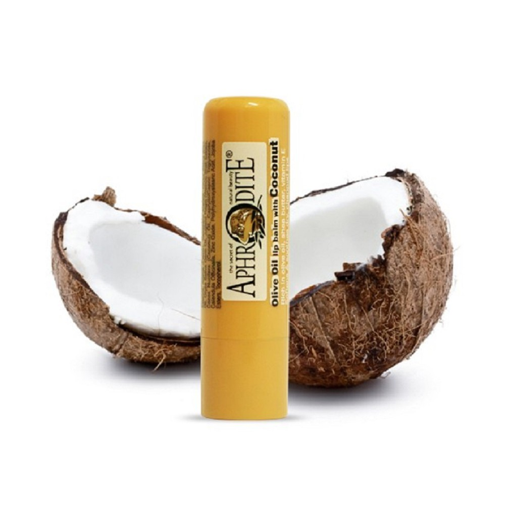 Оливковый бальзам для губ со вкусом кокоса Aphrodite®, натуральный, 4 г - Фото№ 1
