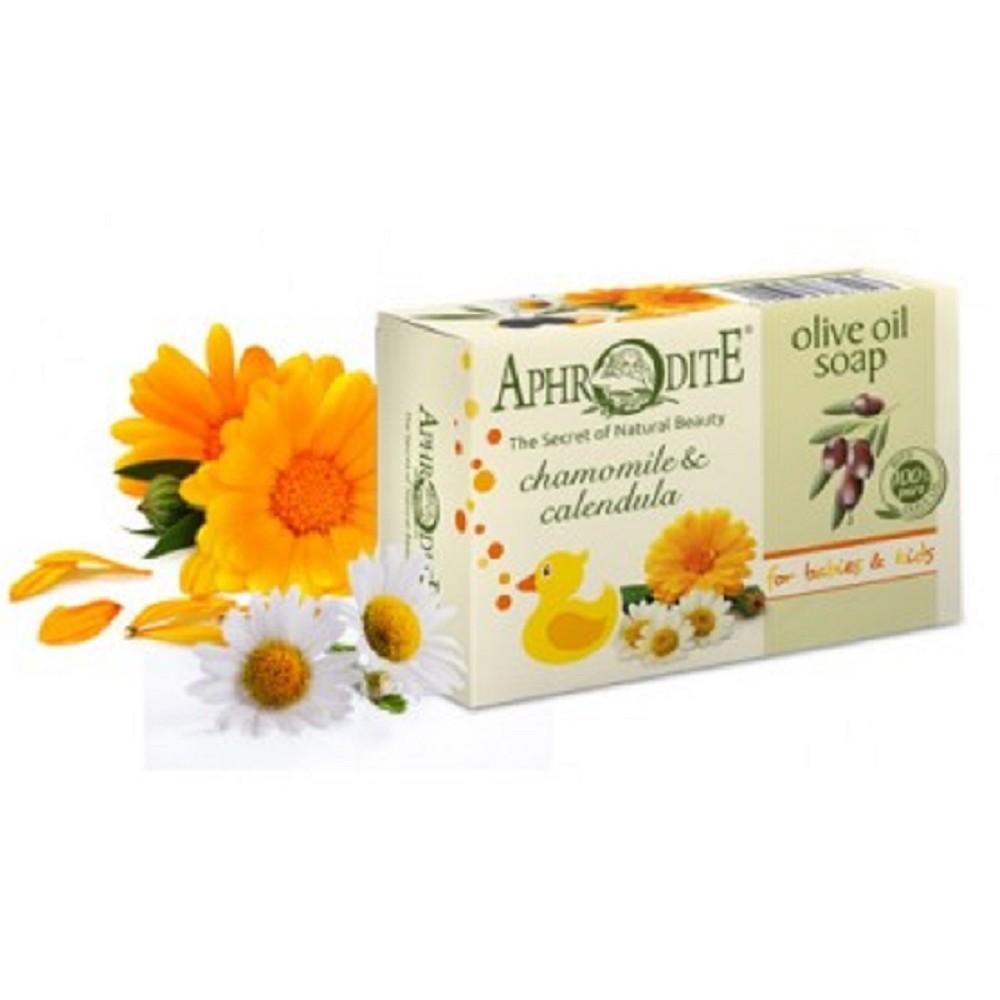 Оливкове мило  з ромашкою та календулою Aphrodite®, натуральне 100 г - Фото№ 1