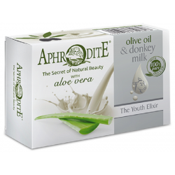Оливкове мило з Алое Вера та молоком ослиць Aphrodite®, натуральне, 85 г. - Фото№ 2