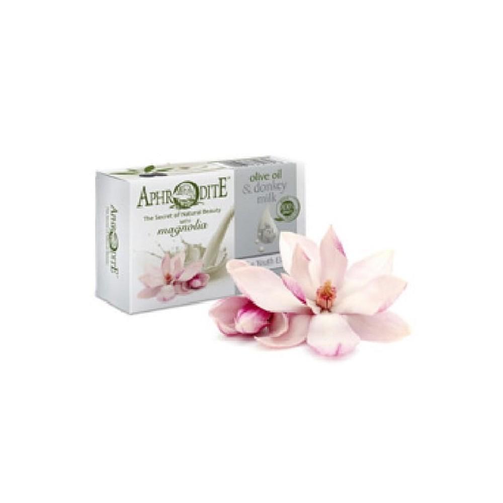 Оливковое мыло с Магнолией и молоком ослиц Aphrodite®, натуральное, 85 г. - Фото№ 1
